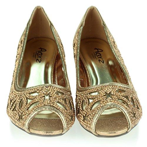 Femmes Dames Diamante Clouté Coupé Détail Peeptoe Kittenheel Soir Fête Mariage Bal de promo Des Sandales Chaussures Taille Champagne