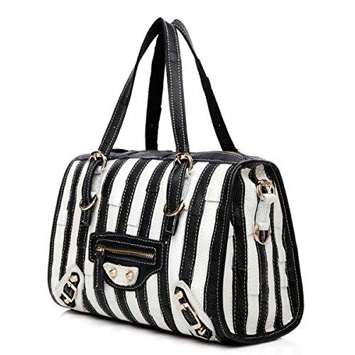 ZPFME Handtaschen Der Frauen Damebeutel Handtasche Mädchen Partei Retro Damen Art Und Weise Schulterbeutel Diagonales Paket Rindleder Black