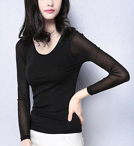 Smile YKK Sexy V Ausschnitt Damen Sommer Herbst Langarmshirt T-Shirts Basis Pullover Sweater Oberteil Top Schwarz