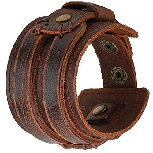 brown-wide-leather-mens-bracelet-cuff-wristband-allow-rivet-button-link-jewelry-stretch-double-buckl