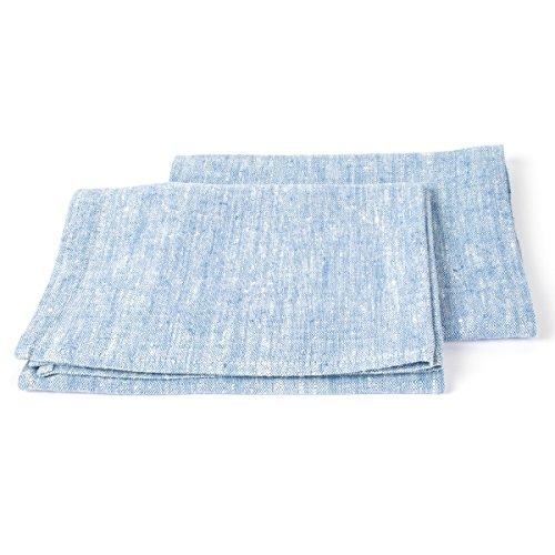 LinenMe Set mit 2 Blau Leinen-Handtüchern und Gästehandtüchern Francesca, Hergestellt in der EU Leinen-handtuch