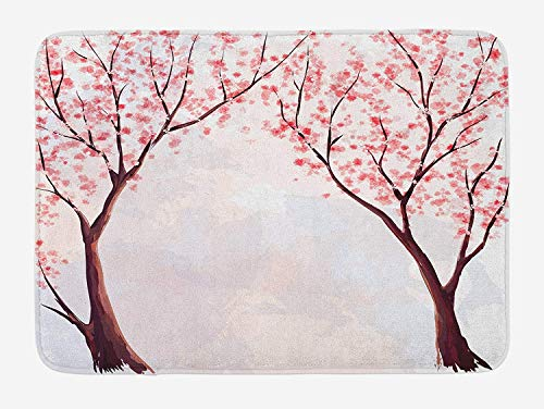 OQUYCZ Japanese Bath Mat, Japanese Sakura Tree with Cherry Blossoms Spring Season Country Watercolor Style, Plush Bathroom Decor Mat with Non Slip Backing, 23.6 W X 15.7 W Inches, Pastel Pink (Blossom Lane)