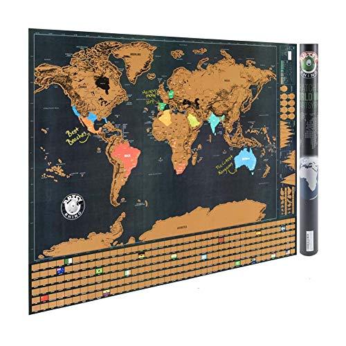 Polly Online 1 STK Landmasse abkratzen Welt Karte Poster nach Hause Dekor Wand Kunsthandwerk Papier Vintage für Reise-Karte 82.5x59cm