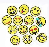 Lezed Parche Emoji Parches de Bordado de Sonrisa DIY Ropa Parch Smiley Pegatinas Paño Tema de Verano Para la Decoración Camisetas Jeans Ropa Bolsos Zapatos (26 Piezas)