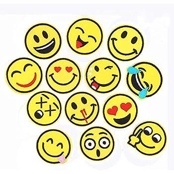 797764a692b36 Lezed Smiley Patchs Patch Broderie Smiley Patch de Vêtements Bricolage  Sourire Autocollant Patch d expression Faciale Ecussons Thermocollants  Thème l été ...