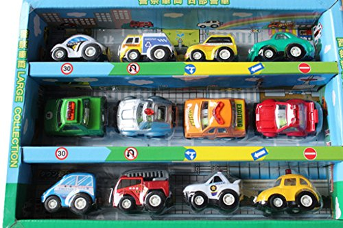 JT-Amigo Kinder Spielzeugauto - 12er Mini Polizeiauto Set