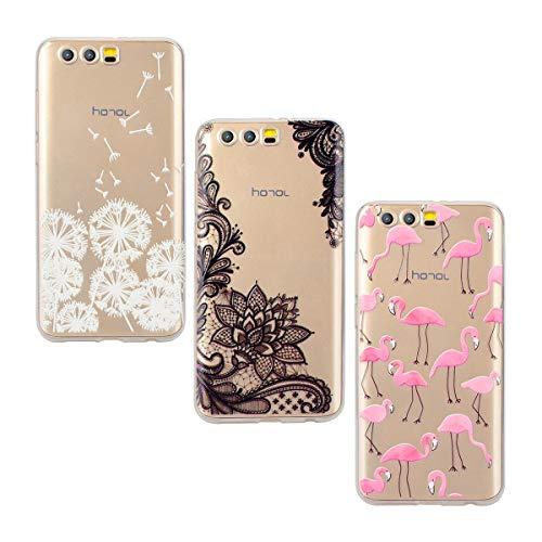 Yokata [3 Packs Huawei Honor 9 Hülle Silikon Transparent Durchsichtig Handyhülle Schutzhülle TPU Dünn Slim Kratzfest mit Motiv - Flamingo + Löwenzahn + Spitze - Spitze 9