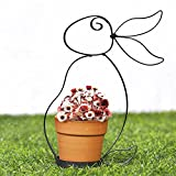 Valery Madelyn Plant Pot Ceramic Hanging Planters with Rabbit Bunny Shaped Metal Stand Black Flower Pot Holder Lovely for Home Garden Indoor Outdoor Spring Decoration (Plant not Included)