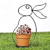 Valery Madelyn Frühling Blumentopf Übertöpfe Deko Pflanze Vase Deko Metall Garten Deko / Innendekoration mit Hasen Stand Struktur und Keramiktopf, Pflanze nicht inkl. 22,5 × 10,5 × 7,2 cm