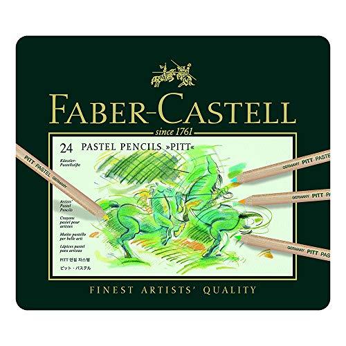 Faber-Castell 112124 - Estuche de metal con 24 lápices de colores Pitt pastel, multicolor