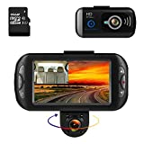 """Bluepupile Dash cam, Car Camera Dual lens Dash Cam GPS 1080P Full HD 170� Wide Angle 3.0"""" Driving Recorder,Loop Recording, Parking Mode.16GB SD Card Includ."""
