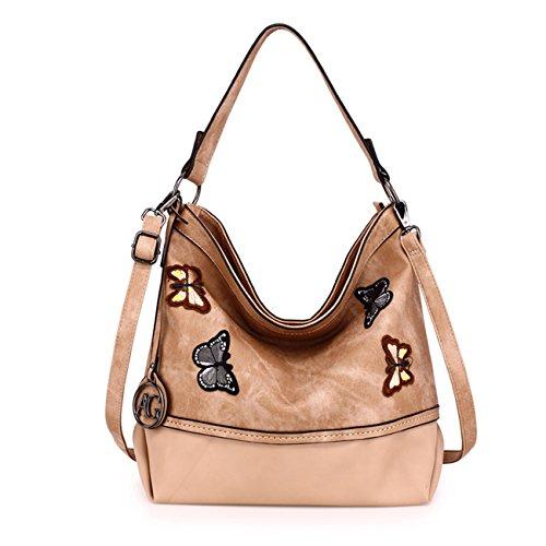 LeahWard Damenmode Mittlerer Schulter Handtaschen Weiche Zipper Faux Ledertaschen 00529 (Beige Schmetterlings Tasche) - Chloe Hobo