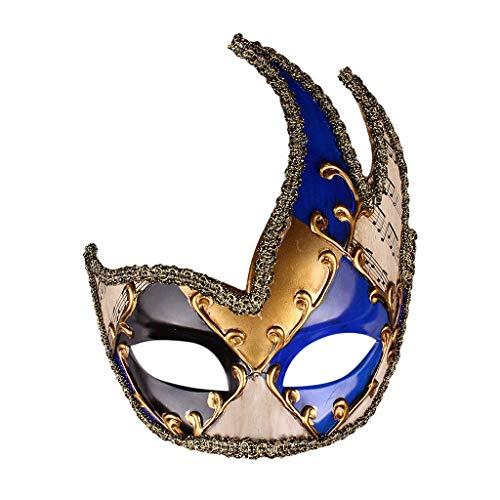 Skelett Kostüm Schädel Zucker - CANDLLY Halloween Dekoration Cosplay Herren Maskerade Maske Vintage Venezianische karierte musikalische Party Mardi Gras Maske Halloween Anti-Antike Maske