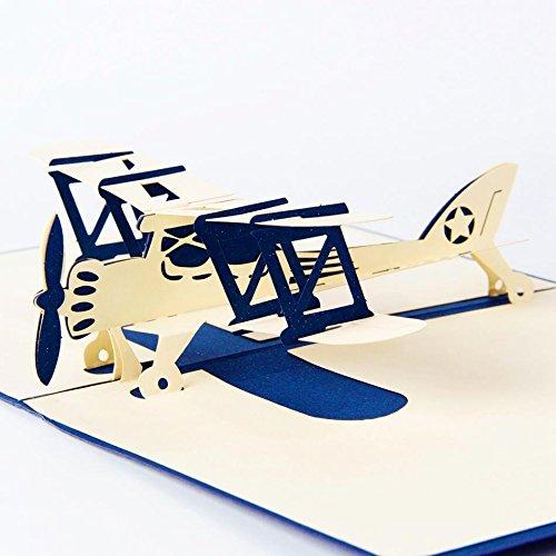 Uniqueplus Avion de Chasse Creative 3d Pop Up Cartes Cadeau de vœux pour anniversaire ou toute occasion