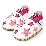 Dotty Fish Leder Babyschuhe - Baby Mädchen - weiß und hellrosa Sterne - 6-12 Monate (Gr. 19) Bild 5