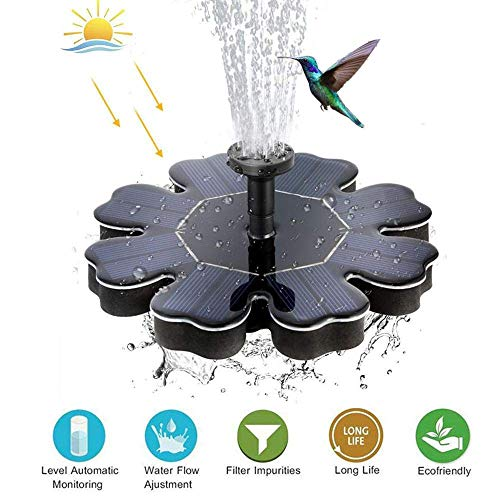 H.Yue 1.5W Solar Bird Bath Fountain Pump with 6 Nozzles, Portable Submersible Free Standing Outdoor Water Fountain Panel Kit for Bird Bath,Small Pond,Garden and Lawn Decoration -