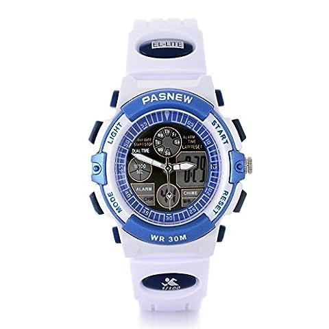 Pasnew 30m Water-proof Digital-analog Boys Girls Sport Digital Watch with Alarm Stopwatch Chronograph (White)