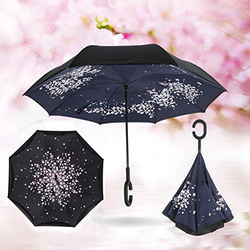 KAYI paraguas reversible de doble capa a prueba de viento UV protección C manejar paraguas plegable invertido