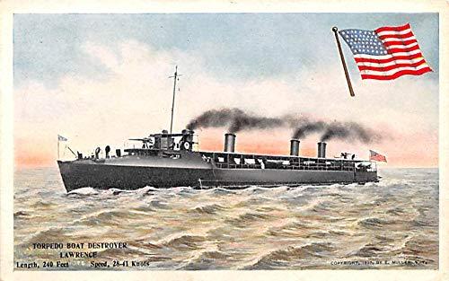 Military Battleship Postcard, Old Vintage Antique Military Ship Post Card Torpedo Boat Destroyer Lawrence Unused -