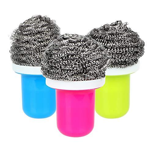 3 stücke Gadgets Starke Dekontamination Stahldraht Ball Reinigungsbürste Küche Zubehör BBQ Grills Waschmaschine (Style : 3pcs) Rosle Gadgets