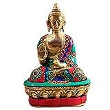 17,8cm Zoll Buddha Statue Dhokra handgefertigt Deko mit Messing & Embedded Stein Akshobhya Buddha Idol Visitenkarte Buddha Murti Statue Tisch Schreibtisch Decor Visitenkarte Figur Best für die Dekoration & in