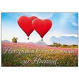 A4 XXL Hochzeitskarte HERZ-BALLONS mit Umschlag - edle Glückwunschkarte zum Aufklappen mit romantischem Motiv zur Hochzeit - Maxikarte von BREITENWERK