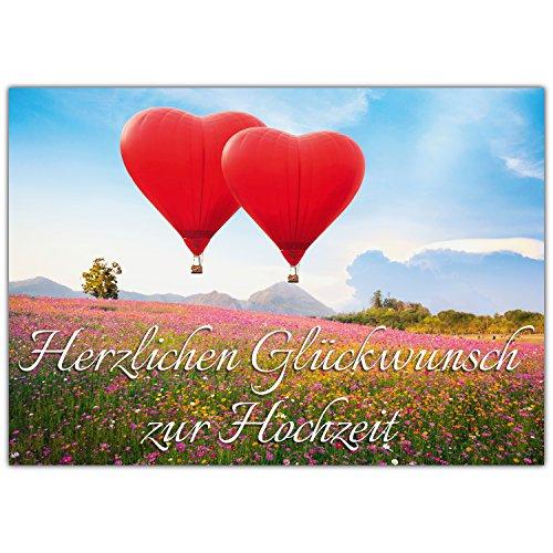 A4 XXL Hochzeitskarte HERZ-BALLONS mit Umschlag - edle Glückwunschkarte zum Aufklappen mit...