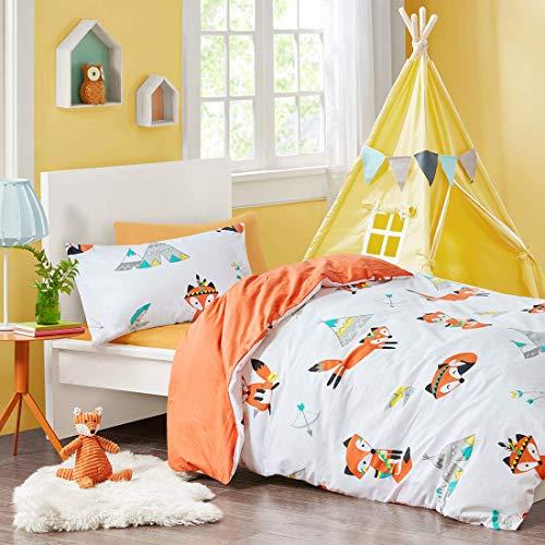 SCM Kinder Bettwäsche 135x200cm Orange 100% Baumwolle 2-teilig Bettbezug Kopfkissenbezug 50x75cm mit Fuchs Renforcé Mädchen Jugendliche Teenager Kinderbett Friendly Fox (Quilts Teenager-mädchen)