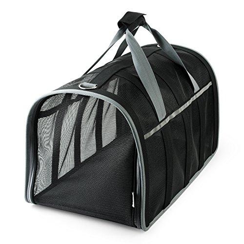 Becko Haustiertasche Tragetasche Hundetasche Transporttasche für Haustier (48x28x30 cm) (Schwarz)