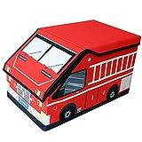 TE-Trend Textil Feuerwehrauto Aufbewahrungsbox Spieltruhe Spielbox faltbar mit geteilten Fächern mit Deckel