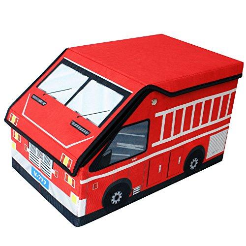 TE-Trend Textil Camión de bomberos Camión de bomberos Caja de almacenamiento Juego pecho Caja de juego plegable con compartidos Casillas con tapa