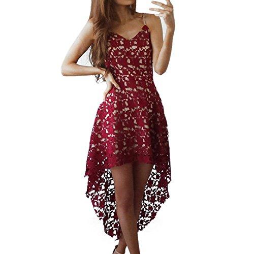 Kleid Damen,Binggong Frauen Blumenspitze Sleeveless V-Ausschnitt Cocktail Formal unregelmäßiges Kleid Schulterfrei Minikleid Party Dress Sling Kleid Reizvolle Abend Kleid Mode (Sexy Rot, S)