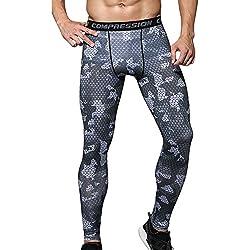 Hombres Compresión Leggings Camuflaje Polainas Apretadas Larga Deportes Pantalones L