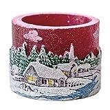 Teelichtzylinder Winterdorf, Teelichthalter Weihnachten, Windlicht Wachs