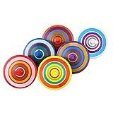 VABNEER Kreisel aus Holz 6 Stück mit farbenfroher Bemalung Kreisel Spielzeug Spielzeugkreisel aus Holz kleinspielwaren Für Kinder 3-7 Jahre alt (6Pcs / Set, Farbe zufällig)
