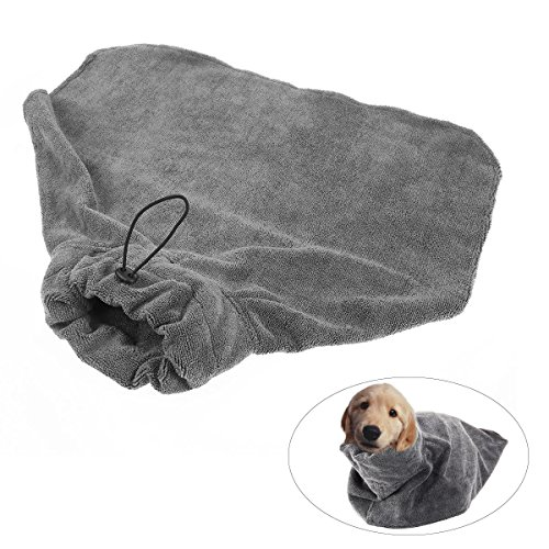 UEETEK Pets Bath Robe Super Absorbant Dog Bathrobe Quick Drying Pet Bath Towel for Puppy Cat Bathing – Size M(Grey)