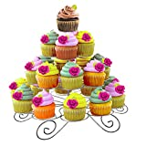 Kurtzy Cupcake Ständer - 4 Etagen Kuchenständer Hält 23 Törtchen - Silber Metall Muffinständer aus Draht für Kindergeburtstag, Hochzeit, Geburtstag, Baby Shower