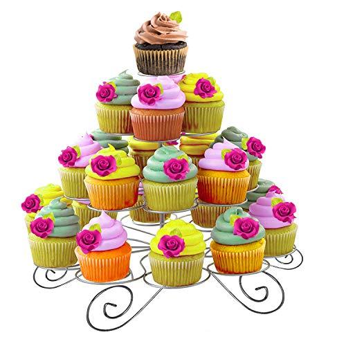 Kurtzy Cupcake Ständer - 4-stöckig Kuchenständer Hält 23 Törtchen - Silber Metall Muffinständer aus Draht für Hochzeit, Geburtstag, Baby Shower - Mit Inbusschlüssel und Schraubenschlüssel