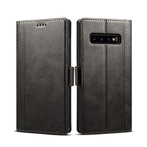 TACOO Schutzhülle für Samsung Galaxy S10, Leder, zweifarbige Block, weiches PU, schmal, mit Standfunktion, Kreditkartenfächer, Geldfach, für S10 Samsung 2019 15,2 cm (6 Zoll), schwarz - Ny Giants Tragen