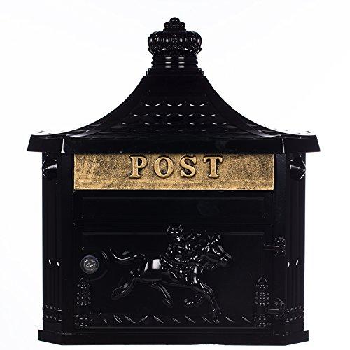 Antiker großer und sehr edler Briefkasten GLY 04 Antik Schwarz Wandbriefkasten, Briefkasten, Nostalgischer Englischer Briefkasten Alu - Guss 45 cm hoch . Mit Befestigungsmaterial für die Wand. mit 2 Schlüsseln , Rostfrei