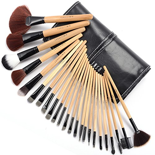 Fraulein Set de 24 Brochas Pinceles Profesional de Maquillaje con Funda Manta Negro #114