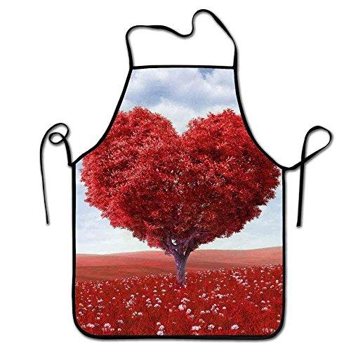 Feng Huang Einstellbare Küchenchef Schürze-A Heart Shaped Red Tree, Commercial Men & Women Schürze zum Kochen, Backen, Basteln, Gartenarbeit, BBQ Red Womens Keil
