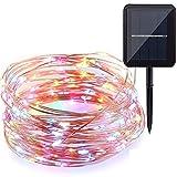 WYBAN 10M 100 LEDs Solar Powered Kupferdraht Wasserdichte Lichterketten LED String Beleuchtung Perfekt für Außen Landschaft,Garten,Terrasse,Wohnungen, Schlafzimmer, Hochzeit,Party Etc (Mehrfarben)