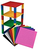 "Premium Rainbow Stackable Base Plates - 12 Pack 6"" x 6"" Baseplate Bundle with 80 Rainbow New and Improved 2 X 2 Stackers - Compatible with All Major Brands - Tower Construction"