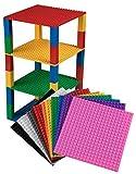 Stapelbare Premium-Bauplatten - inkl. neuen verbesserten Bausteinen mit 2 x 2 Noppen - kompatibel mit allen großen Marken - geeignet für Turm-Konstruktionen - Set aus 12 Platten - je 6' x 6' (15,2 x 15,2 cm) - Weiß, Transparent, Grau, Schwarz, Braun und mehr
