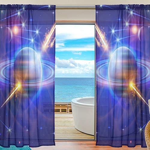ALARGE Fenstervorhang Galaxy Space Solar System Voile Vorhang Vorhang Vorhang Gardine Dekoration Küche Wohnzimmer Schlafzimmer Tür Fenster 2 Panels, Multi, 55