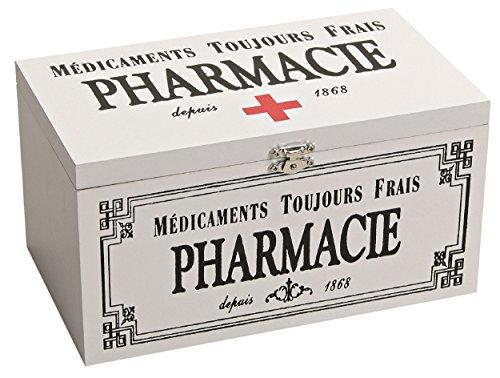 Medikamentenbox mit Deckel, Pharmacie, Aufbewahrungsbox First Aid, Deko-Box Holz weiß/schwarz Medizin