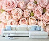 StickersWall Light Pink Roses Flower Pattern Wall Mural Photo Wallpaper Picture Self Adhesive 1032 ( 342cm(W) x 242cm(H))