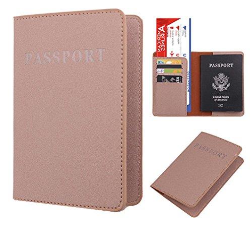 funda pasaporte viaje, Sannysis pasaporte cartera organizador pasaporte juguete Protector Organizador de viaje dedicado Estuche de portada de la tarjeta de identificación (Caqui)