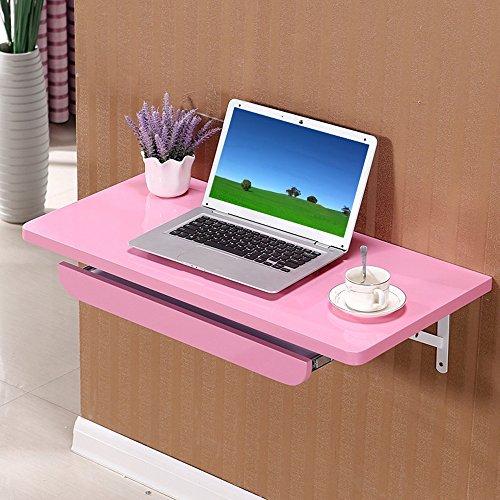 Klapptisch YANFEI Faltender an der Wand befestigter Tabellen-Küchentisch-Wand-Kinderschreibtisch 80 * 40CM (Farbe : Pink)